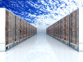 Server cloud racks in a row d illustration Stock Images