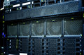 Server data center closeup with details , fans, panel hard drives. Royalty Free Stock Photo