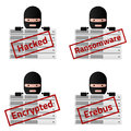 Server Red stamp messages Hacked, Ransomware, Encrypted, Erebus.