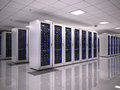 Server room in datacenter d render Royalty Free Stock Photos