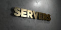 Servers - Gold sign mounted on glossy marble wall  - 3D rendered royalty free stock illustration Royalty Free Stock Photo