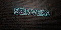 SERVERS -Realistic Neon Sign on Brick Wall background - 3D rendered royalty free stock image Royalty Free Stock Photo
