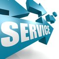 Service arrow in blue image with hi res rendered artwork that could be used for any graphic design Royalty Free Stock Images