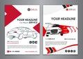 A5, A4 service car business layout templates. Auto repair Brochure templates, automobile magazine cover.