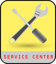 Service center vector tool kit yellow background Stock Photo