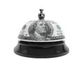 Service concept service bell and dollar texture on a white background Stock Photos