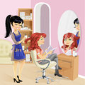 Service girl in beauty salon at the hairdresser cute a Stock Images