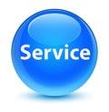 Service glassy cyan blue round button
