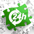 Service h icon on green puzzle hours concept Royalty Free Stock Photography