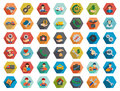 Service Hexagon Flat Longshadow Glyph Icon Set