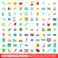 100 service icons set, cartoon style