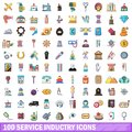 100 service industry icons set, cartoon style