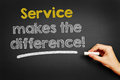 Service makes the difference hand writes on blackboard Stock Photos