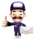 Service man holding a letter Royalty Free Stock Images