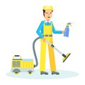Service man with hoover Royalty Free Stock Photo