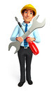 Service man is with screw driver d rendered illustration of Stock Photography