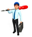 Service man is with screw driver d rendered illustration of Stock Image