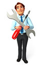 Service man with screwdriver d rendered illustration of Royalty Free Stock Images