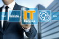 it service optimize support help touchscreen is operated by businessman Royalty Free Stock Photo