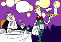 Service in a restaurant the illustration shows scene the customer waiter illustration done an amusing cartoon style on separate Royalty Free Stock Photos