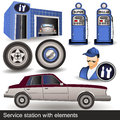 Service station with elements illustration of a different icons Stock Images