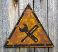Servicekonzept auf rusty warning sign Lizenzfreies Stockfoto