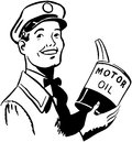 Serviceman With Motor Oil Royalty Free Stock Photo