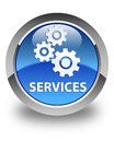 Services (gears icon) glossy blue round button Royalty Free Stock Photo