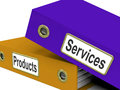 Services products folders show business service showing and merchandise Stock Photo