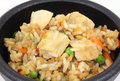 Serving of chicken fried rice and vegetables Stock Image