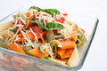 Serving of colored penne pasta Stock Image