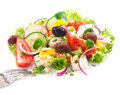 Serving of delicious Greek salad Royalty Free Stock Photo