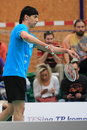 Serving jarolim vicen badminton from slovakia in the rd place match within czech extraleague between sokol radotin meteor praha Royalty Free Stock Photos