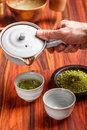 Serving matcha tea in a ceramic bowl Stock Photos