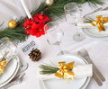 Serving New Year or Christmas table Royalty Free Stock Images