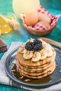 Serving pancakes for healthy brunch