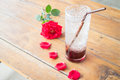 Serving pomegranate drink on wood table stock photo Stock Images