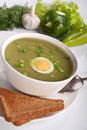 Serving of spinach cream soup Royalty Free Stock Photo