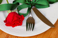 Serving of table with rose Royalty Free Stock Photos