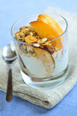Serving of yogurt and granola Stock Photo