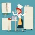 Servizio del carattere di happy smiling female del capo cuoco Fotografia Stock Libera da Diritti