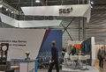 Ses global satellite services provider booth visitors visit at kyiv international exhibition and conference in broadcast industry Stock Image