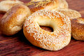 Sesame bagel on wood many bagels the wooden surface Royalty Free Stock Image