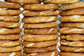 Sesame bagels backgrounds and textures traditional turkish simits on a street vendor s counter food abstract Royalty Free Stock Photography