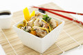 Sesame chicken noodle salad a with chopsticks and soy sauce Royalty Free Stock Photography