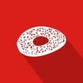 Sesame Cookie Flat Icon With Red Background