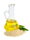 Sesame oil oil in a glass jug Stock Image