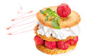Sesame pastry with strawberries whipped cream and Royalty Free Stock Photos