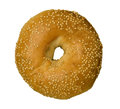 Sesame seed bagel against white isolated background Royalty Free Stock Images