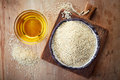 Sesame seed oil and sesame seeds Royalty Free Stock Photo